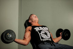 Hnadsome young man working out with dumbbells in fitness -  powe. R training Royalty Free Stock Images