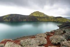 Hnausapollur火山的火山口湖 免版税图库摄影