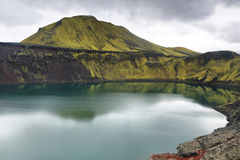 Hnausapollur volcanic crater lake Royalty Free Stock Images
