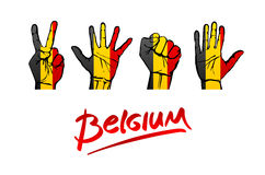 Hände auf Belgien-Flaggenhintergrund Beschriften handgeschriebenen Belgien-Rotes Stockfotos