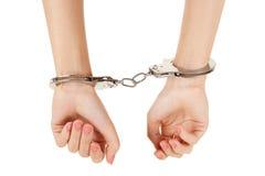 Hände in den Handschellen Lizenzfreie Stockbilder