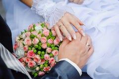 Hände der Braut und des Bräutigams mit Eheringen auf einem Hintergrund Stockfotografie