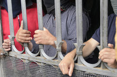 Hände des Protestes Stockfotografie