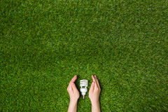 Hände, die energiesparende eco Lampe über Gras schützen Lizenzfreie Stockfotografie