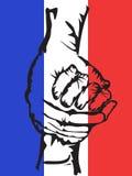 Hände, die solidaritätsfrankreich-Hintergrund halten Stockfoto