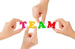 Hände und Wort Team Lizenzfreie Stockfotos