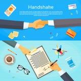 Händedruck-Geschäftsmann-Contract Sign Up-Papier Stockfotografie