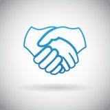 Händedruck-Zusammenarbeits-Partnerschafts-Ikonen-Symbol-Zeichen-Vektor-Illustration Stockbilder