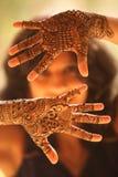 Händer av den indiska bruden Arkivfoton