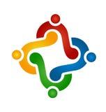 Händer för logoteamworkinnehav Arkivfoto