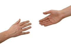 händer hjälper två Arkivbild
