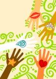 Händer som ger hjälphälsningkortet Arkivfoto