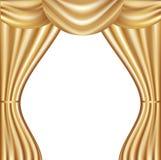 hänga upp gardiner den guld- vektorn Arkivfoto