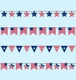 Hängande Buntingstanderter för självständighetsdagen USA Arkivbild