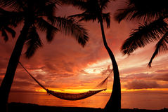 Hängematte am Sonnenuntergang im Paradies Stockfoto