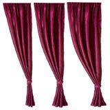 hänger upp gardiner red tre Royaltyfri Fotografi