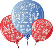 HNYBalloonsRedBlue Illustrazione Vettoriale