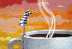 Ho bisogno del mio caffè di mattina Fotografie Stock
