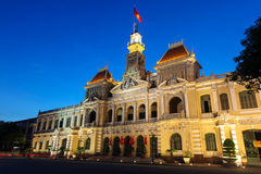 Ho Ch Minh city architecture - Vietnam. The people's committee building in Ho Chi Minh City Vietnam. This building is an example of the colonial French Royalty Free Stock Photography