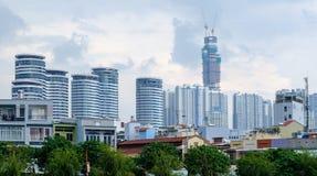 Ho Chi MIinh miasto Wietnam, Grudzień, - 5, 2017 Linii horyzontu widok z lotu ptaka na nowych drapaczach chmur w nowym okręgu Zdjęcia Stock