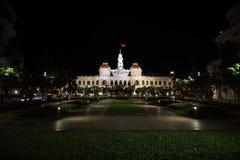Ho Chi Min City at night. Illuminated buildings in Ho Chi Min City, Vietnam at night Royalty Free Stock Images
