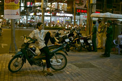 Scene of a night street life in Vietnam Ho Chi Min Royalty Free Stock Images