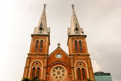 Ho Chi MIn, Vietnam. HO CHI MINH, VIETNAM - OCT 5, 2014: Saigon Notre Dame Basilica (Basilica of Our Lady of The Immaculate Conception) in Hochiminh (Saigon). It Stock Images