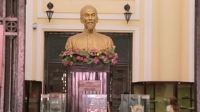 Ho Chi Minh buste. Ho Chi Ming buste at the entrance in History museum in Ho Chi Minh city in Vietnam stock footage