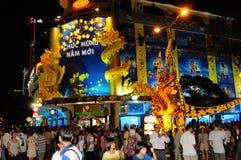 Ho Chi Ming City: La celebración del Año Nuevo comienza en el lugar de Eden foto de archivo libre de regalías