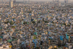 Ho Chi Minh City aerial view during the day with residential hou Stock Photos