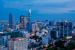Ho Chi Minh City on the afternoon. Bitexco building, Ho Chi Minh City, Viet Nam in the afternoon view from above of the great and beautiful Royalty Free Stock Photography