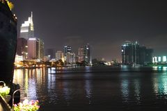 Ho Chi Minh City bynight. A view of the Ho Chi Minh City in Vietnam at night Stock Photography