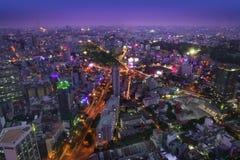 Stads- stadshorisont för natt, Ho Chi Minh, Vietnam Royaltyfria Bilder