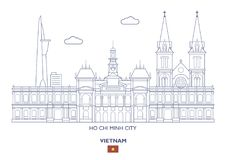 Ho Chi Minh City horisont, Vietnam royaltyfri illustrationer