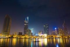 Ho Chi Minh City laat bij nacht 2 Stock Foto