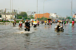 Ho Chi Minh city, lood tide, flooded water Royalty Free Stock Image