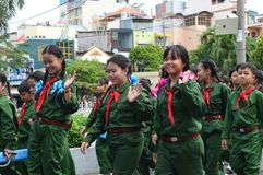 Ho chi minh City marching band prepares. Vietnam - southern city of ho chi minh city or saigon in a city park young people gather in marching bands or military Stock Photography
