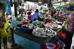 Ho chi minh City market. Vietnam - southern city of ho chi minh city or saigon  ladies working on a fish stall Royalty Free Stock Photos