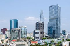 Ho Chi Minh City metropolis and downtown of Saigon, Vietnam. Ho Chi Minh City, Vietnam - 4 April, 2018: Ho Chi Minh City metropolis with its few remaining old stock image
