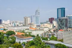 Ho Chi Minh City metropolis and downtown of Saigon, Vietnam. Ho Chi Minh City, Vietnam - 4 April, 2018: Ho Chi Minh City metropolis with its old french styled royalty free stock photo