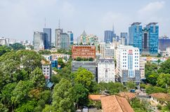 Ho Chi Minh City metropolis and downtown of Saigon, Vietnam. Ho Chi Minh City, Vietnam - 4 April, 2018: Ho Chi Minh City metropolis with Notre-Dame Cathedral royalty free stock image