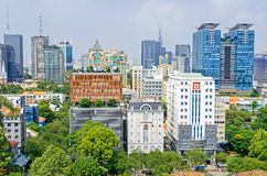 Ho Chi Minh City metropolis and downtown of Saigon, Vietnam. Ho Chi Minh City, Vietnam - 4 April, 2018: Ho Chi Minh City metropolis with public and stock photo