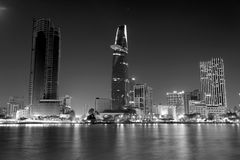 Ho Chi Minh City by night. In black and white Royalty Free Stock Images