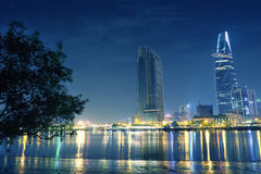 Ho Chi Minh city at night. We can see Bitexco tower from here Royalty Free Stock Photography