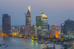 HO CHI MINH CITY. Overview of Ho Chi Minh city in night Royalty Free Stock Photo