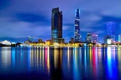 Ho Chi Minh City på natten Royaltyfri Fotografi
