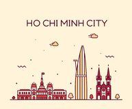 Ho Chi Minh City Saigon horisontVietnam vektor royaltyfri illustrationer