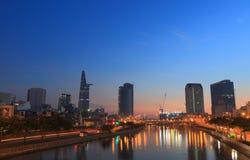 Ho Chi minh City Saigon river cityscape Vietnam Royalty Free Stock Image