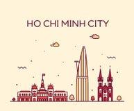 Ho Chi Minh City Saigon skyline Vietnam vector. Ho Chi Minh City, Saigon, skyline, Vietnam. Trendy vector illustration linear style royalty free illustration