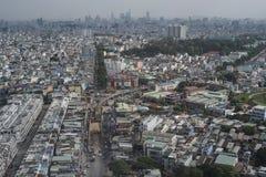 Ho Chi Minh City Saigon, Vietnam, ungefähr gesehen von einer Fläche, um zu landen stockbilder